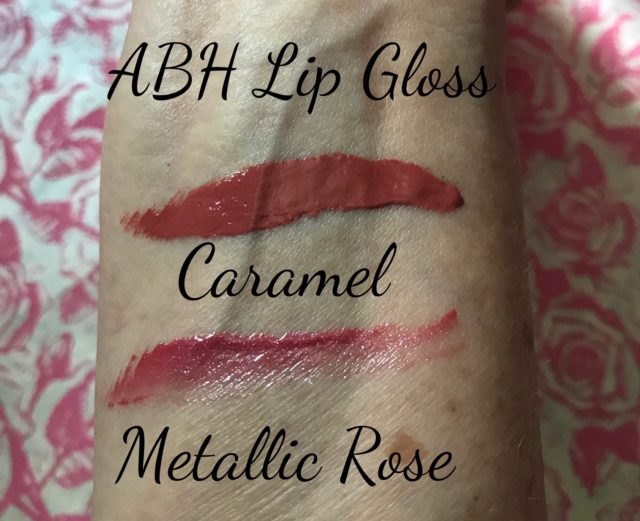 swatches of Anastasia Beverly Hills Lip Gloss in Caramel and Metallic Rose, neversaydiebeauty.com