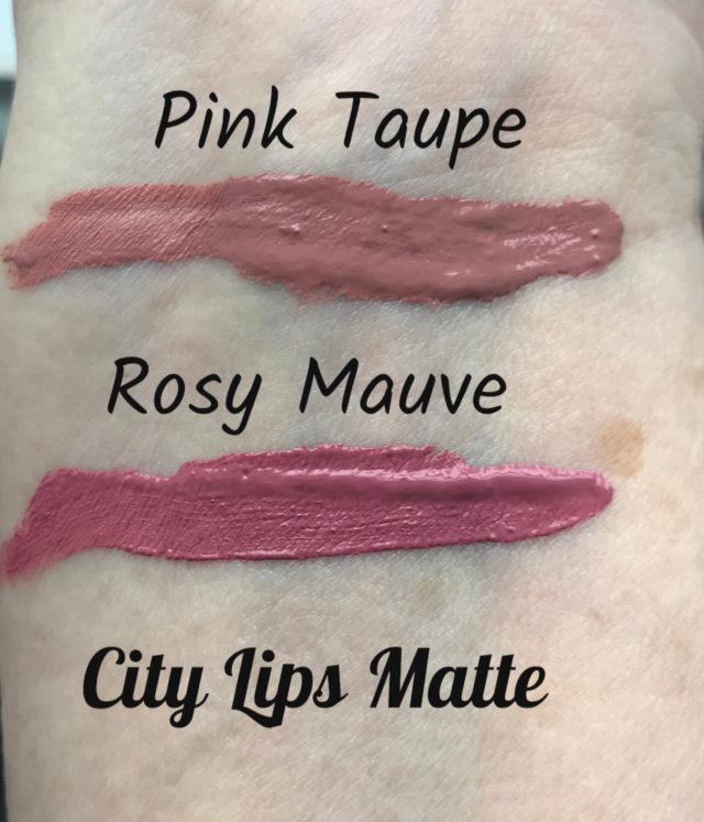 échantillons de taupe rose et de mauve rose de City Lips Matte, neversaydiebeauty.com