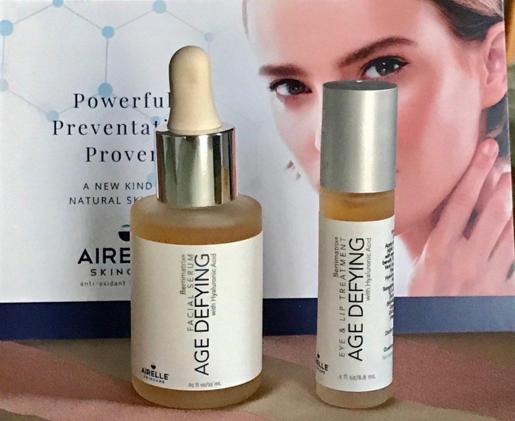 Flacon compte-gouttes de sérum anti-âge Airelle et bouteille de traitement des yeux et des lèvres pour rollerball, neversaydiebeauty.com