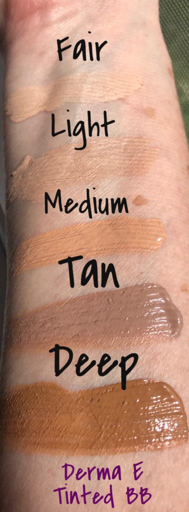 échantillons des 5 nuances de Derma E crème teintée BB crème hydratante FPS 30, neversaydiebeauty.com