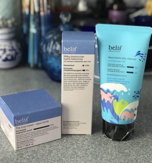 3 produits de soin du visage pour peaux normales et mixtes de belif Skincare dans leurs boites