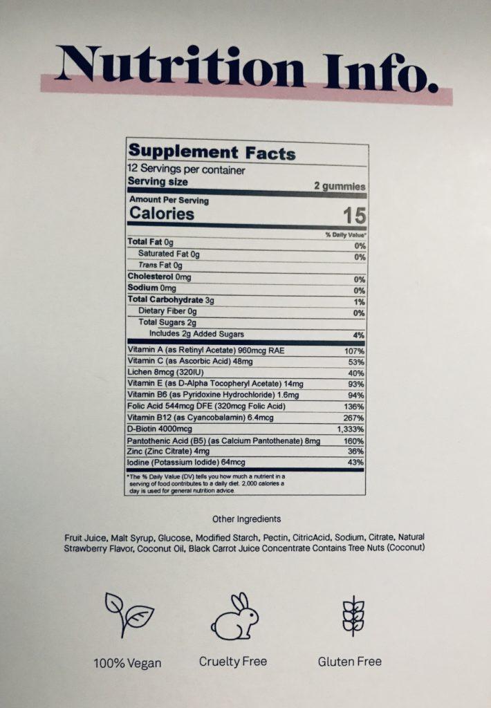 un tableau avec des informations nutritionnelles et les ingrédients contenus dans Vegamour Lovestruck Biotin Gummies for Hair