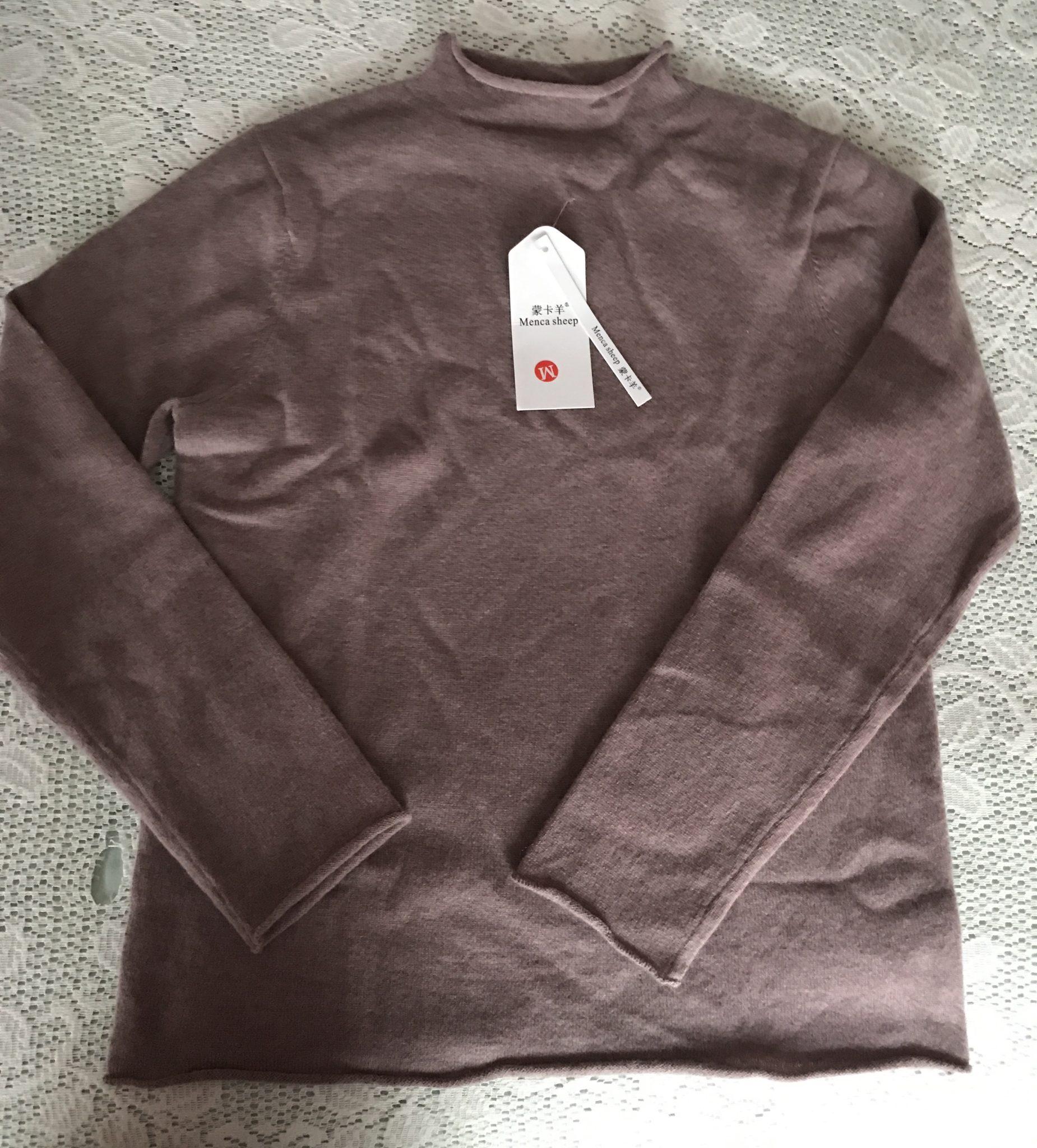 pull en cachemire à col roulé, manches et bas mauve-chiné du détaillant chinois Janeswear.com
