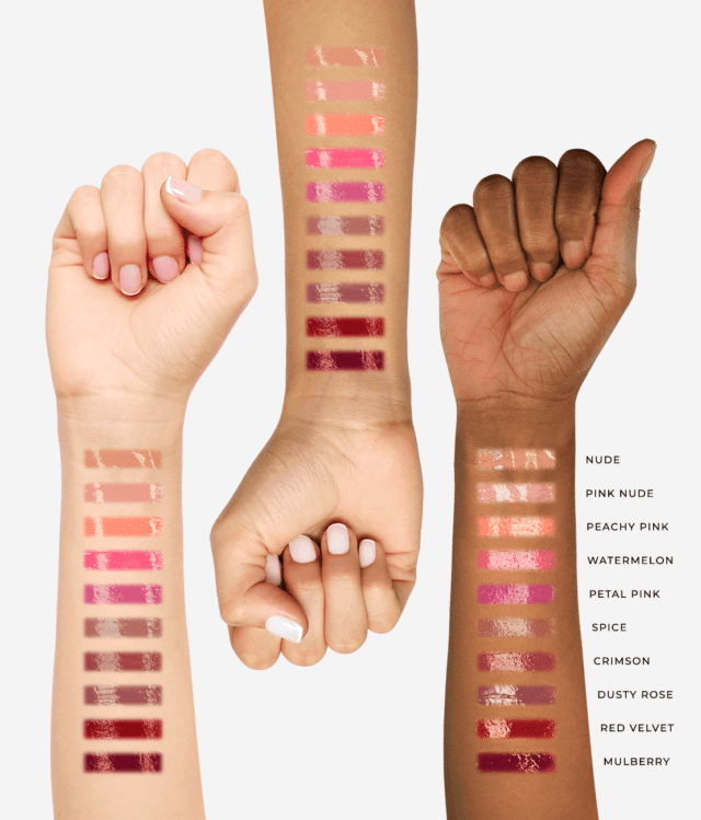 swatches of City Lips opaque gloss on 3 different skin tones